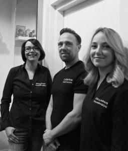 team Cellarius haarmode : Sabine, Edwin en Demi